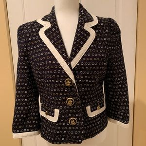 Juicy Couture Navy Blue Tweed Sail Blazer M